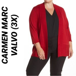 Red Ribbed Open Front Cardigan NWT 3X